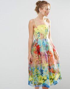 ASOS SALON Cami Strap Floral Organza Midi Prom Dress