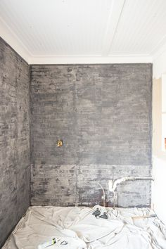 How to Paint an Industrial Faux Brick Wall - Cherished Bliss Faux Brick Panels, Brick Paneling, Painted Brick Fireplaces, Slate Fireplace, Chair Design, Furniture Design, Plywood Furniture, Furniture Decor, Design Design