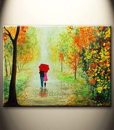 original abstract paintingAutumn rain walking in por maggyart