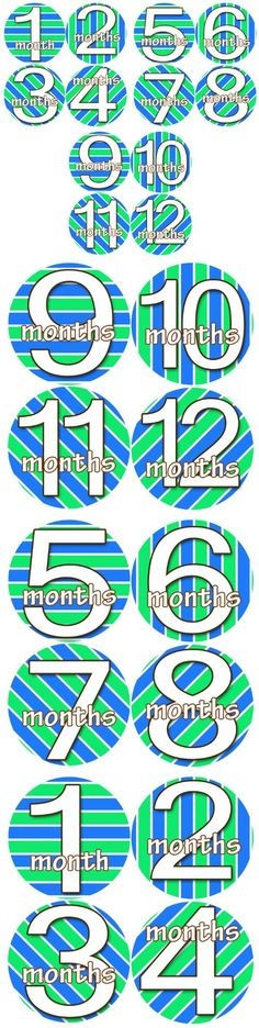 RACING STRIPES GREEN BLUE 1-12 Month Baby Monthly One Piece Stickers Baby Shower Gift Photo Shower Stickers