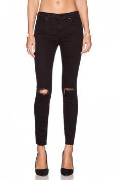 J Brand x Revolve Exclusive Mid Rise Skinny Jeans // Black ripped skinny jeans