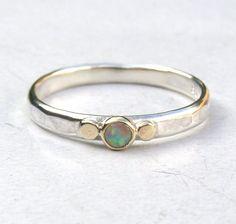White opal Gemestone Engagement Ring  14k gold ring by OritNaar, $75.00