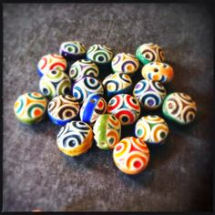 Porcelain double sided carnival beads by Round Rabbit.