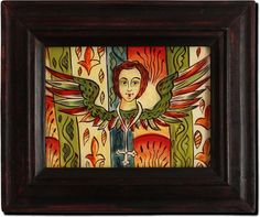 Folk icon Romanian folk Available the icon shown in the photos. Metal Hangers, Handmade Frames, Religious Icons, Orthodox Icons, Kristen Konst, Dark Colors, Folk Art, Angel, Pure Products
