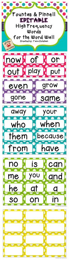 65 sight word printables activities a huge collection of fountas pinnell word wall cards editable bright polka dots sciox Gallery