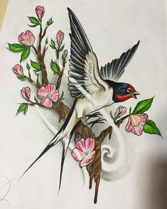 Japanese bird tattoo swallows Ideas for 2019 Body Art Tattoos, Tattoo Drawings, Girl Tattoos, Mago Tattoo, Tattoo Oriental, Swallow Bird Tattoos, Realistic Rose Tattoo, Sunflower Tattoo Sleeve, Cobra Art