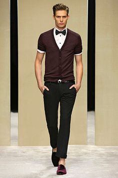 Mens short sleeve cardigan and shirt with bow tie and cuffed straight pants