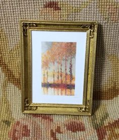 """Pat Tyler Artist Made OOAK Resin with wood grain and gold accents Hand Painted Picture Frame measures approximately 3 1/4"""" Wide, 4"""" High, 1/2"""" Deep. Painting is printed on Canvas Cloth for a really ri"""