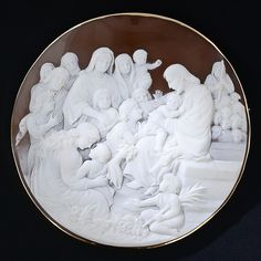 "Colossal Round Shell Cameo Brooch ~ ""But Jesus said, Suffer little children, and forbid them not, to come unto me: for of such is the kingdom of heaven"" - Matthew 19:14"