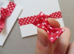 card embellishment photo tutorial: washi taped bow ... cute and shaped ...