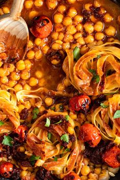NYT Cooking: Two pantry staples, chickpeas and pasta, come together to give you this hearty vegan main. (Do check the ingredient list on the packaging for your tagliatelle, as some may contain egg.) Frying the pasta nests before cooking them provides plenty of texture, even as the pasta softens and releases its starches into the chickpeas and their cooking water. Feel free to play around with the smoky toma... Vegetarian Main Dishes, Vegetarian Recipes, Most Popular Recipes, Favorite Recipes, Pasta Recipes, Cooking Recipes, Pasta Meals, Pasta Dishes, Chickpeas