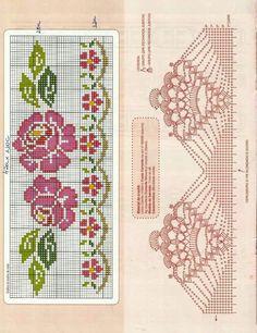 Desenho de Fabúla Cross Stitch Rose, Cross Stitch Borders, Cross Stitch Flowers, Cross Stitch Charts, Cross Stitch Designs, Cross Stitching, Cross Stitch Patterns, Cross Stitch Embroidery, Crochet Edging Patterns