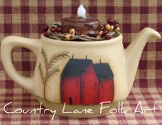 small tea pot with salt box house painted on it - with battery flickering candle. Primitive Country, Primitive Crafts, Country House Design, Country Style, Flickering Candle, Candles, Project Ideas, Craft Ideas, Saltbox Houses