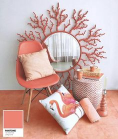 Coral: offical pantone color of 2019 and how to use it in your interior design. Thirty ways of using coral pantone color in Feed your design ideas now. Coral Paint Colors, Coral Art, Coral Color, Decor Interior Design, Interior Decorating, Coral Home Decor, Le Living, Live Coral, Color Of The Year