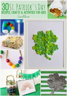 30 of the Best St. Patrick's Day Crafts, Recipes & Activities for Kids. Holiday ideas for St. Quick Crafts, St Patrick's Day Crafts, Easy Crafts For Kids, Simple Crafts, Craft Projects For Kids, Craft Activities For Kids, Craft Ideas, St Patricks Day Food, Saint Patricks