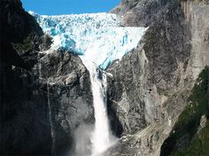 Some of the most awesome water falls in South America are the comparatively little known Ventisquero Colgante Falls. In the Spanish language, 'ventisquero' when translated means to travel to an area in a mountain where heavy snow falls.
