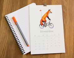 2016 wall Calendar Animals on wheels animals on by AmelieLegault