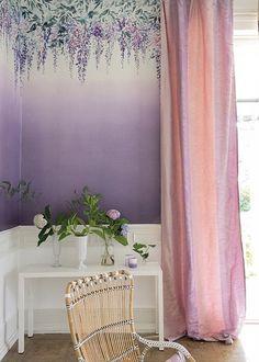 Designers Guild Summer Palace wallpaper Grape Wallpaper, Summer Palace, Designers Guild, Shabby, Tapestry, Curtains, Interior Design, Interiors, Inspiration
