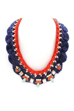 Crochet Adin Necklace in Poppy on Navy  on Emma Stine Limited