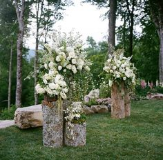 Rustic ceremony alter designed by Weddings by Sybil + Mariee Ami.  Photo: A Bryan Photo
