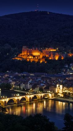 germany, heidelberg, night, lights, bridge, river, reflection, type, height