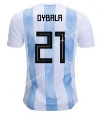 18ff6cb68b5 2018 World Cup Argentina  21 (Dybala) Home Blue and White Thailand Soccer  Jersey
