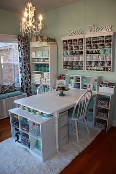 yes please! dream scrapbook room! @ Home Improvement Ideas so where can I do this in my house....the old kitchen table and chairs painted white gets it started....