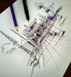 Architecture Board, Architecture Student, Architecture Photo, Drawing Sketches, Drawings, Sketching, Building Sketch, Perspective Art, Interior Sketch