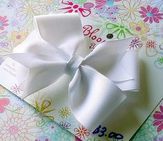 Girls 3 Inch Handmade White Hair Bow by Bloomzies on Etsy, $3.00