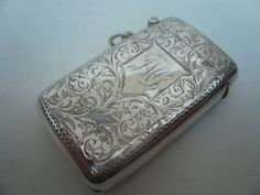 Silver Vesta Case, Sterling, Antique, Matchsafe, English, Hallmarked 1899 in Antiques, Silver, Solid Silver, Cigarette/ Vesta Cases | eBay