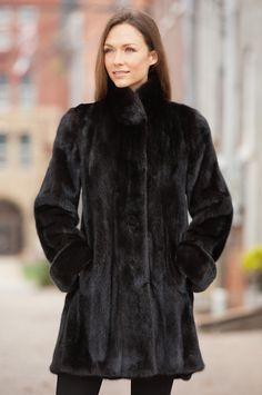 Women's Krystiana Long-Haired Mink Fur Coat  by Overland Sheepskin Co. (style 11525)