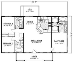 Ranch traditional house plan 40649 level one house plans in 3 Bedroom Floor Plan, House Plans 3 Bedroom, Lake House Plans, Small House Plans, House Floor Plans, 30x40 House Plans, Small Floor Plans, Family House Plans, Simple Ranch House Plans