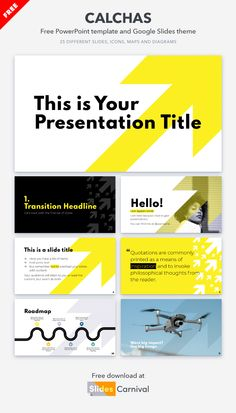 Bold text over a vibrant yellow arrow combine in this free template to form a rabidly modern look. Let your design be as unique as the information you're presenting!