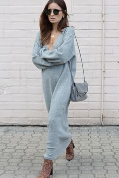 Style On: STREET STYLE: GREY SWEATER, personally I'd prefer this outfit in black - jersey dress - sack dress