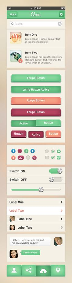 Elven iPhone App UI Kit by Raul Taciu, via dribbble #ui #button.