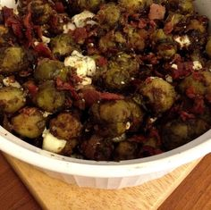 Roasted Brussels Sprouts w/Bacon & Blue Cheese
