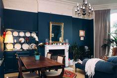 Living Room in Farrow & Ball Hague Blue navy walls, flax velvet curtain Blue Curtains Living Room, Navy Blue Living Room, Living Room Decor Colors, Living Room Color Schemes, Blue Rooms, Room Colors, Navy Curtains, Velvet Curtains, Colour Schemes