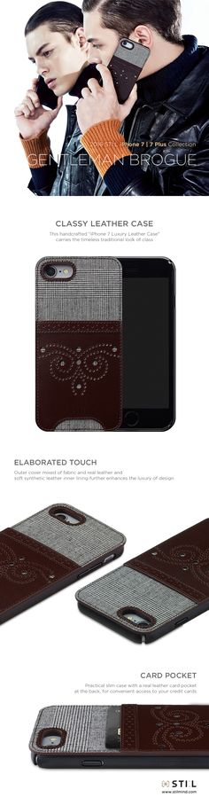 """""""GENTLEMAN BROGUE"""" is a classic yet edgy handcrafted leather case for #iPhone7. The exquisite leather patchwork reminiscent of brogue shoes enables you to store your everyday card in a discreetly concealed pocket at the back of the case. #iPhone7 #iphone7plus #iphone #stilmind #stilcase #stilphonecase #stil #apple #7plus #fashion #trend #item #design #mobile #phone #case #2016fw #2016collection #vegetableleather #italianleather #catalog #ebook"""