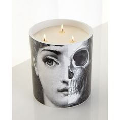 Fornasetti Three-Wick R.I.P. Candle (740 CAD) ❤ liked on Polyvore featuring home, home decor, candles & candleholders, scented candles, fragrance candles, skull home decor, lavender candle and lavender scented candles
