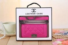 Chanel Boy Handbag Chain Leather Case for Iphone 6 4.7 Iphone 6 Plus 5.5 with Card Slots