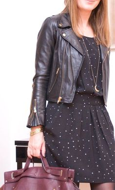 Look un peu rock pour le printemps New Outfits, Cool Outfits, Dress Outfits, Fashion Outfits, Style Rock, Look Rock, Leather Jacket Outfit Spring, Fashion Moda, Look Fashion