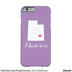 Utah Heart Lilac Purple Custom Monogram Barely There iPhone 6 Case