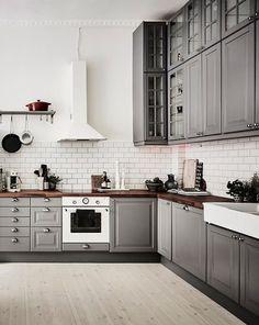 L-shaped kitchen layout grey white design concept
