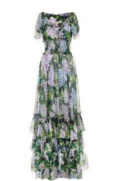 Женское зеленое шелковое платье с оборками и цветочным принтом DOLCE & GABBANA — купить за 272500 руб. в интернет-магазине ЦУМ, арт. 0102/F6VN5T/HS1M8