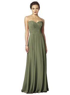 After Six 6639: A simple and elegant long chiffon bridesmaid dress with a strapless neckline. Shown in Moss.
