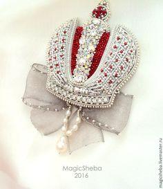 Купить Корона Российской Империи (с бантом) - серебряный, серебряная брошь, брошь, брошь-корона