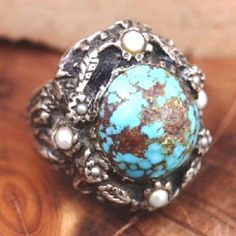 SIZE 5.5 6 Vintage Handmade Sterling Silver Southwest Turquoise Pearl 23.1g Ring #Handmade #SolitaireCocktail
