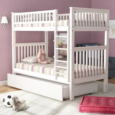 Viv + Rae Shultis Twin over Twin Bunk Bed with Trundle Bed Frame Color: White Bunk Beds Small Room, Bunk Beds With Drawers, Low Loft Beds, Kids Bunk Beds, Small Rooms, Kids Rooms, Bunk Rooms, Bunk Bed With Trundle, Full Bunk Beds