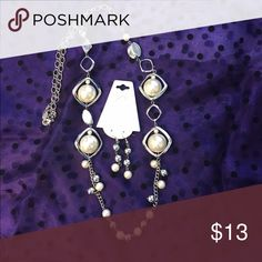 Long faux silver & pearl necklace & earring set Wear this beautiful versatile faux pearl necklace long or short with earrings to match! Jewelry Necklaces