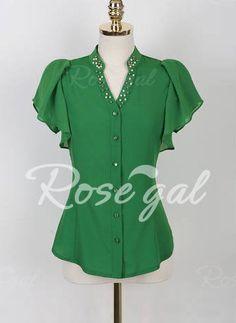 Elegant V-Neck Beaded Ruffled Short Sleeve Chiffon Blouse For Women Basic Tops, Chiffon Shirt, Sammy Dress, Blouse Styles, Ladies Dress Design, Shirt Blouses, Blouses For Women, Casual Outfits, Shirt Dress